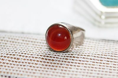 15g Mid Century MODERNIST Sterling Silver CARNELIAN Orb Ring 9