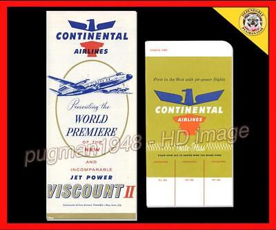 CONTINENTAL AIRLINES 1958 AIRLINE TIMETABLE SCHEDULE...+ CO Ticket Jacket