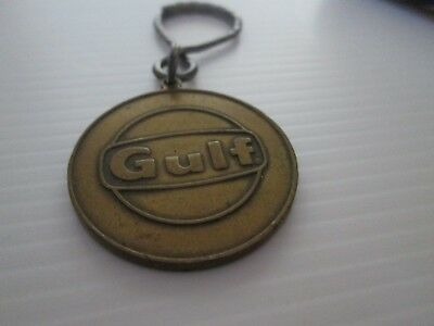 Gulf Oil Sign On Brass Key Ring W/ Engine Gears
