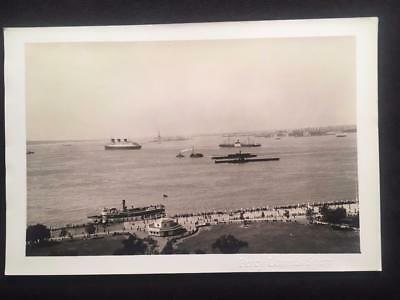 '36 SS Normandie Ocean Liner Ship Statue of Liberty NYC Original Photo T55