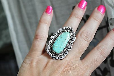 SIGNED ~ Huge 15g STERLING Silver CERRILLOS ? Turquoise STATEMENT Ring 6 1/4