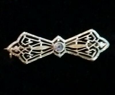 Antique Art Deco Brooch Pin 14k White Gold Aquamarine BOW Filligree 1.1g