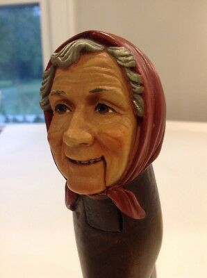 Black Forest Carved Wood Old Woman Nutcracker Vintage