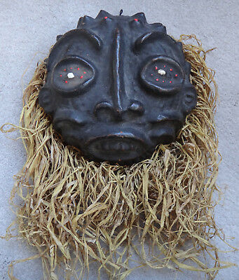 Vintage Basketry, Clay & Shell mask Papua New Guinea? or Africa? basket bumps