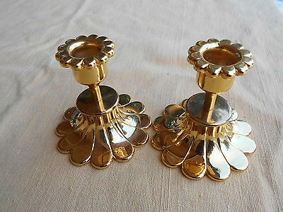 2x Classic Candle Holder Stand Gold Solid Metal Germany Art Dealer Shop Wedding
