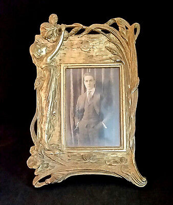 Antique Art Nouveau Picture Frame Gold Gilt Girl Flowers Moon ORIGINAL 11x7.25""