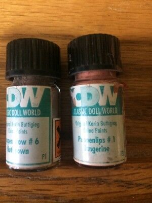 2 Vintage China Doll Paint Powder Glass Vials From Classic Doll World