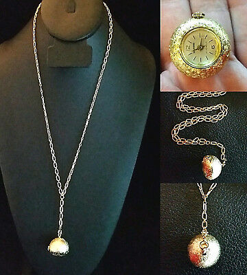 VTG Gold Watch Necklace 17 Jewel 12k Gold Filled Chain Signed Navarre Swiss Made