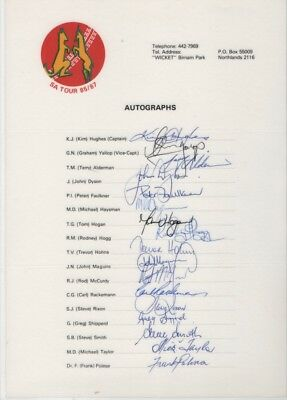 Signed  Australia Cricket Team Sheet SA Tour 86/87  LAMINATED