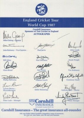 Signed Autographs England Cricket World Cup 1987 LAMINATED