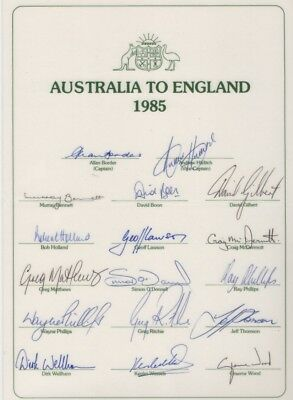 Australia To England Cricket Tour 1985 - Signature Sheet LAMINATED