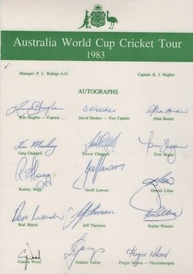 Australia Cricket World Cup Tour 1983 - Signature Sheet LAMINATED