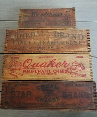 4 Vintage Cheese boxes Quaker Neufchatel,Finedale,Star,& Breakstones Dovetail