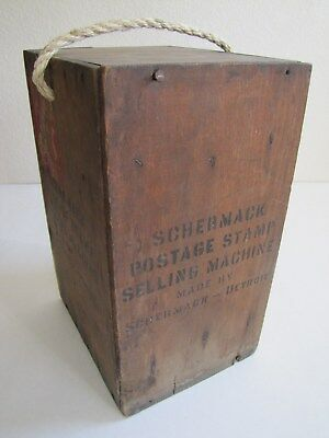 Antique Schermack Us Postage Stamp Vending Machine Shipping Crate Coin Op Postal