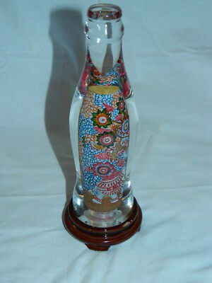 Crystal Coca Cola Bottle with Reverse Painted Indian Scene with Elephant