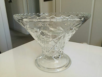 Gorgeous Vintage Depression Glass Compote With Scalloped Edge
