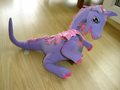 2002 Mattel Rapunzel Barbie Penelope Talking Purple Dragon With Flapping Wings