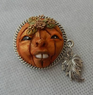 Fall Pumpkin Face Brooch or Scarf Pin Jewelry Handmade NEW Clay Halloween Silver