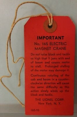 Lionel Paper165-93 Warning Tag Instructions Magnetic Crane w/ String Rare 1940