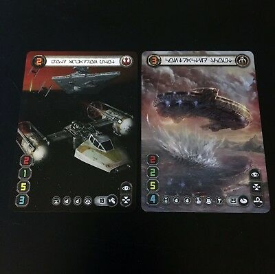 X-wing Custom Plastic Promo Double Sided Gold Squadron Pilot / Contracted Scout