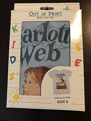 Out of Print Kids' t-shirt- Charlotte's Web, Size 8, New in Box