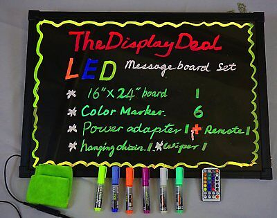 LED Illuminated Writing Erasable Message Board with Scratch Proof Panel and Acce