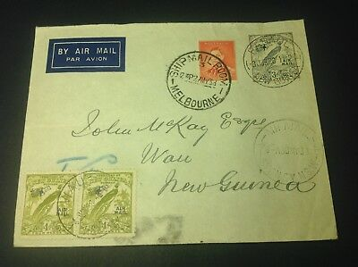 AUSTRALIA TO NEW GUINEA DUAL STAMP COVER DATED 27th May 1938