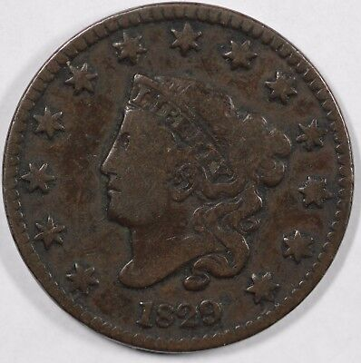 1829 1c Coronet or Matron Head Large Cent UNSLABBED