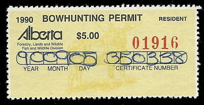 91-25 CANADA Alberta Hunting Stamp AW867 1990 Bowhunting Used