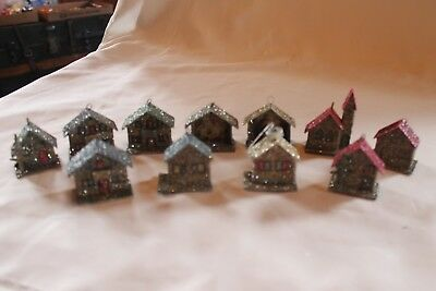 Vintage Lot Of 11 West Germany Cardboard Putz Houses Glitter Ornaments