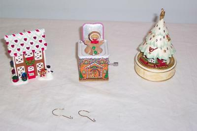 3 Hallmark Ornaments~08' Gingerbread in the box & House~2010 Lighted Tree