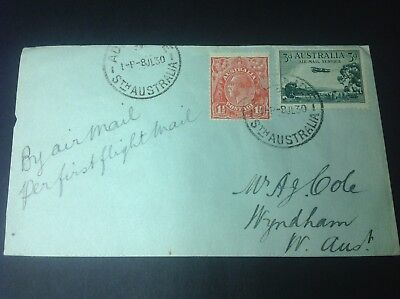 AIR MAIL FIRST FLIGHT COVER ADELAIDE TO WYNDHAM WESTERN AUSTRALIA 8th July 1930