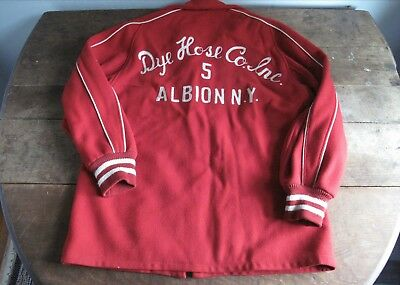 Vintage 1940s 1950s Men's Wool Jacket Red White - Albion NY