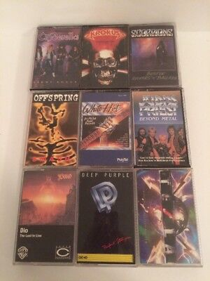 Vtg Heavy Metal Cassette Lot of 9 w/Liner Notes Scorpions Judas Priest Offspring