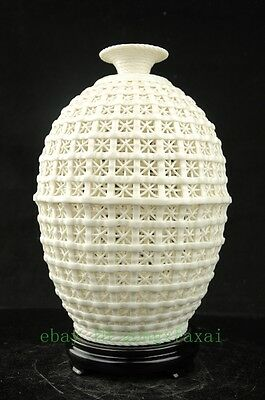 old Chinese White Porcelain Hollow out Bamboo Weaving Bottle Vase Decorate OPPO
