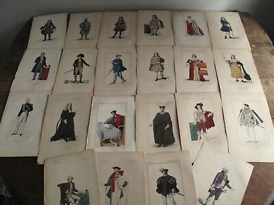 Lot of 22 - Antique 1800s Costume Fashion Etchings - Hand Painted