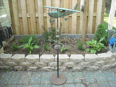 Weathered Copper Airplane Weathervane with Metal Stand