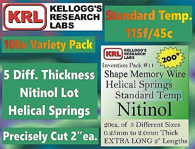 "100x 2"" NITINOL Shape Memory HELICAL SPRINGS 5-Size Lab Variety 115f .25-2.0mm"