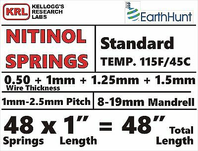 48 Spring in 4-Sizes NITINOL HELICAL SPRINGS Shape Memory Lab Pack 115f .5-1.5mm