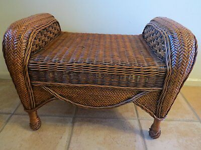 Collectable vintage bamboo dressing table seat / stool