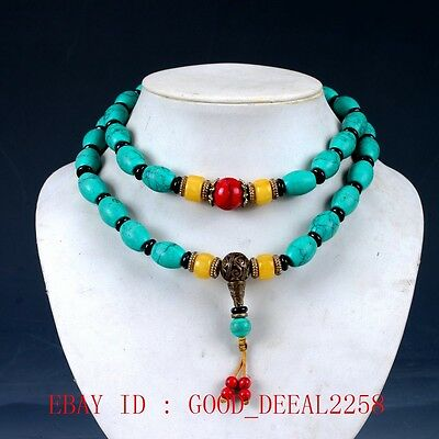 100% Natural Turquoise& Beeswax&Red Coral&Brass Handwork Carved Beade Necklaces