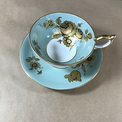 Aynsley Bone China Cup & Saucer Sage Green With Gold Rose
