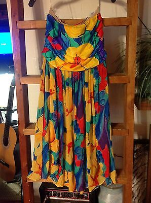 vintage gottex sz small strapless coverup dress floral euc s