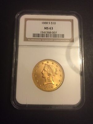 1888 S $10 Gold Liberty Head Eagle NGC MS 63 - Beautiful Luster