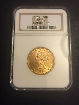 1899 $10 Gold Liberty Head Eagle NGC MS 63 - Beautiful Luster