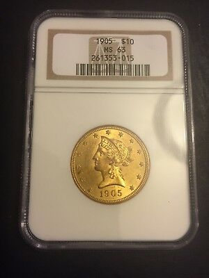 1905 $10 Gold Liberty Head Eagle NGC MS 63 - Beautiful Luster