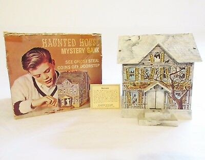 Haunted House Mystery Bank Tin Litho Battery Disneyland W Box Brumberger 1960's