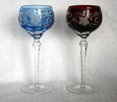 "A Pair Of Cut To Clear Crystal Czech Bohemian 8.5"" Wine Hocks"