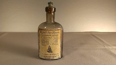 Royall Bay Rhum bottle vintage with cap label and embossed glass