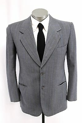 men gray blue stripe VINTAGE 40s BLAZER jacket sport suit coat kuppenheimer 40 R